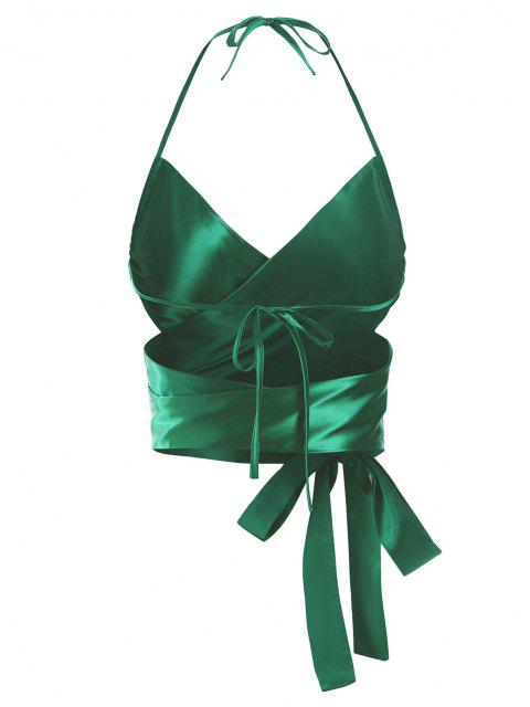 affordable ZAFUL Criss Cross Silky Tie-around Halter Crop Top - GREEN ONE SIZE Mobile