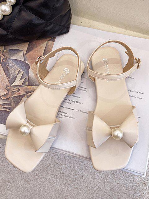 Flache Sandalen mit Schleife und Knöchelriemen - Warmweiß EU 37 Mobile