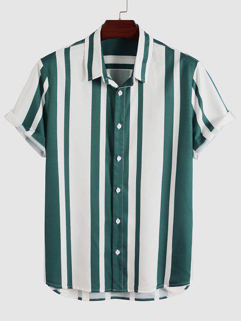 Vertical Stripes Print Button Up Shirt - ديب غرين L Mobile