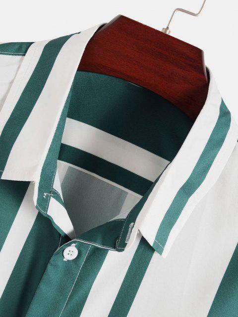 Vertikal Gestreifter Druck Knopf Hemd - Dunkelgrün XXL Mobile