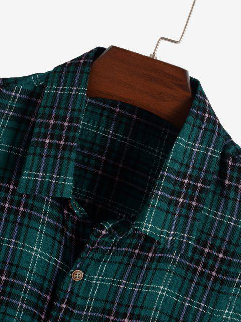 Kariertes Taschen Gepatchte mit Kurzen Ärmeln - Dunkelgrün XXL Mobile