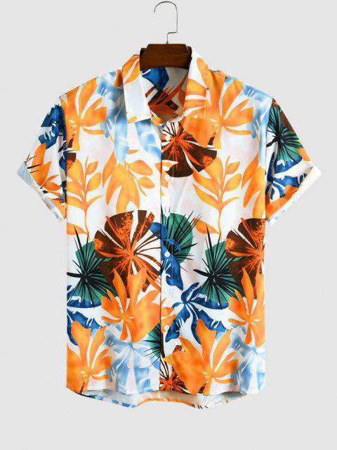 Tropisches Blatt Muster Kurzarm Ferien Hemd - Multi XXL Mobile