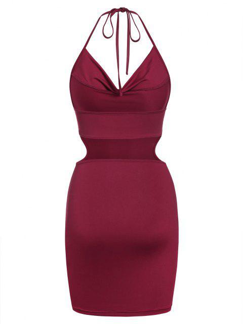 ZAFUL Bodycon Halfter Kleid mit Ausschnitt - Tiefrot L Mobile