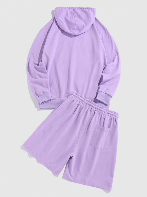 hot ZAFUL CALIFORNIA Letters Print Hoodie and Shorts Set - MAUVE XXL Mobile