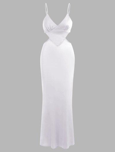Silky Satin Cutout Maxi Slip Dress - White L