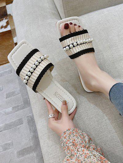 Faux Pearl Woven Vamp Square Toe Flat Slides - Black Eu 37