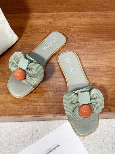 Bowknot Embellished Square Toe Flat Slide Sandals - Green Eu 38