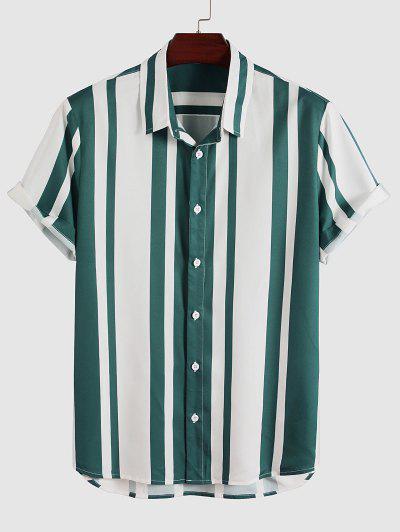 Vertical Stripes Print Button Up Shirt - Deep Green S
