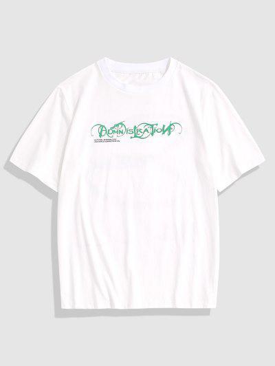 T-shirt Lettre Graphique Imprimé à Manches Courtes - Blanc L