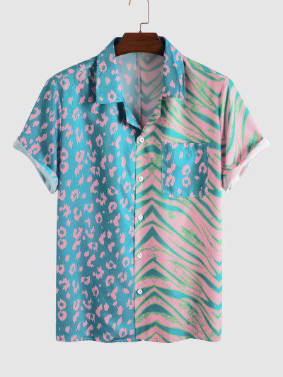 Leopard Stripe Half And Half Print Short Sleeve Shirt - Blue S