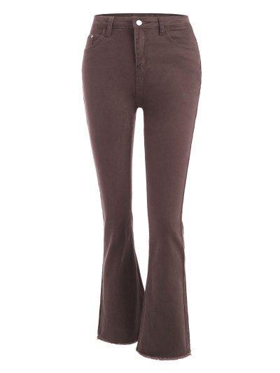 High Waisted Frayed Hem Flared Jeans - Coffee M