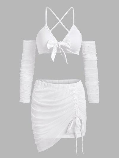 Tie Front Mesh String Cutout Cinched Skirt Set - White S