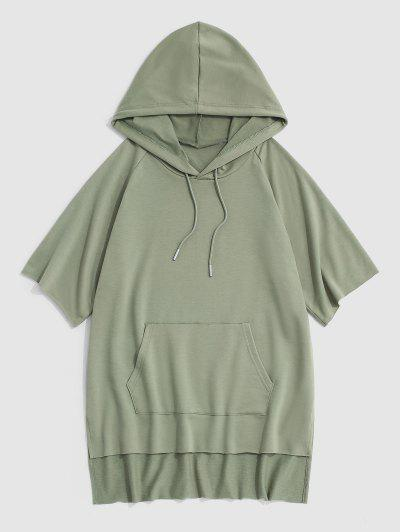Hooded Side Slit High Low T-shirt - Light Green S