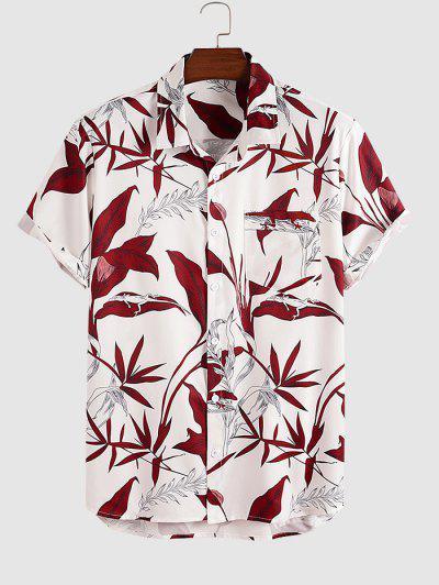Blätter Eidechse Drucken Taschenhemd - Weiß Xxl