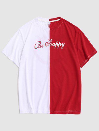 Be Glückliches Zweifarbiges Gesicht T-Shirt - Rot M