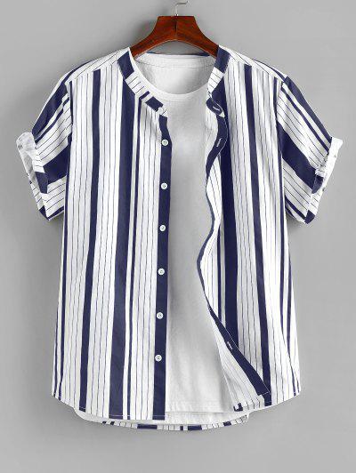 ZAFUL Vertical Striped Print Short Sleeve Shirt - Deep Blue S
