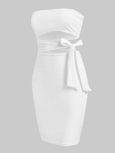 Tie Side Cut Out Slinky Tube Dress - White Xl
