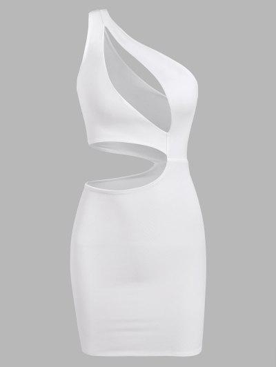 One Shoulder Cutout Double-layered Slinky Cutout Dress - White L