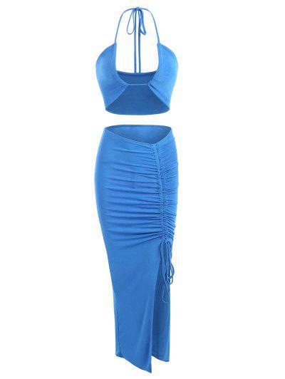 Robe Plissée En Jersey à Volants à Col Halter Deux Pièces - Bleu S