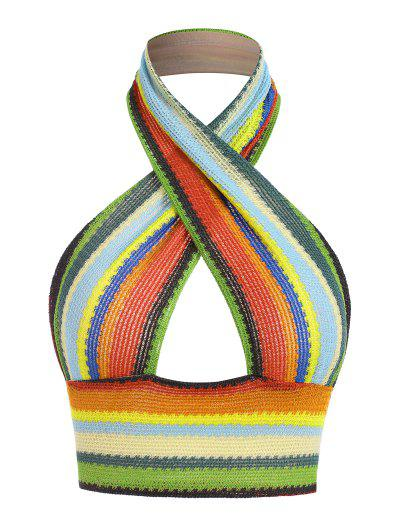 Halter Crossover Rainbow Striped Knit Backless Top - Multi S