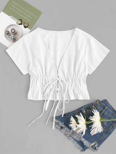 Drawstring Tied Plunge Ruched Blouse - White Xl
