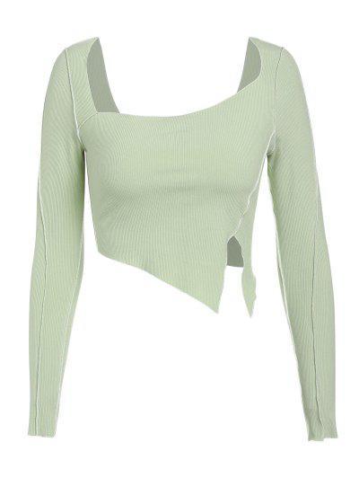 ZAFUL Ribbed Slit Topstitching Asymmetric T Shirt - Light Green L