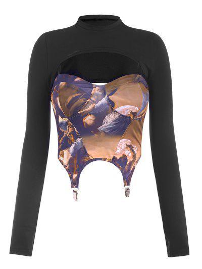 Krawatte T-Shirt Mit Extreme Kunst Strumpfband Und Korsett - Schwarz S
