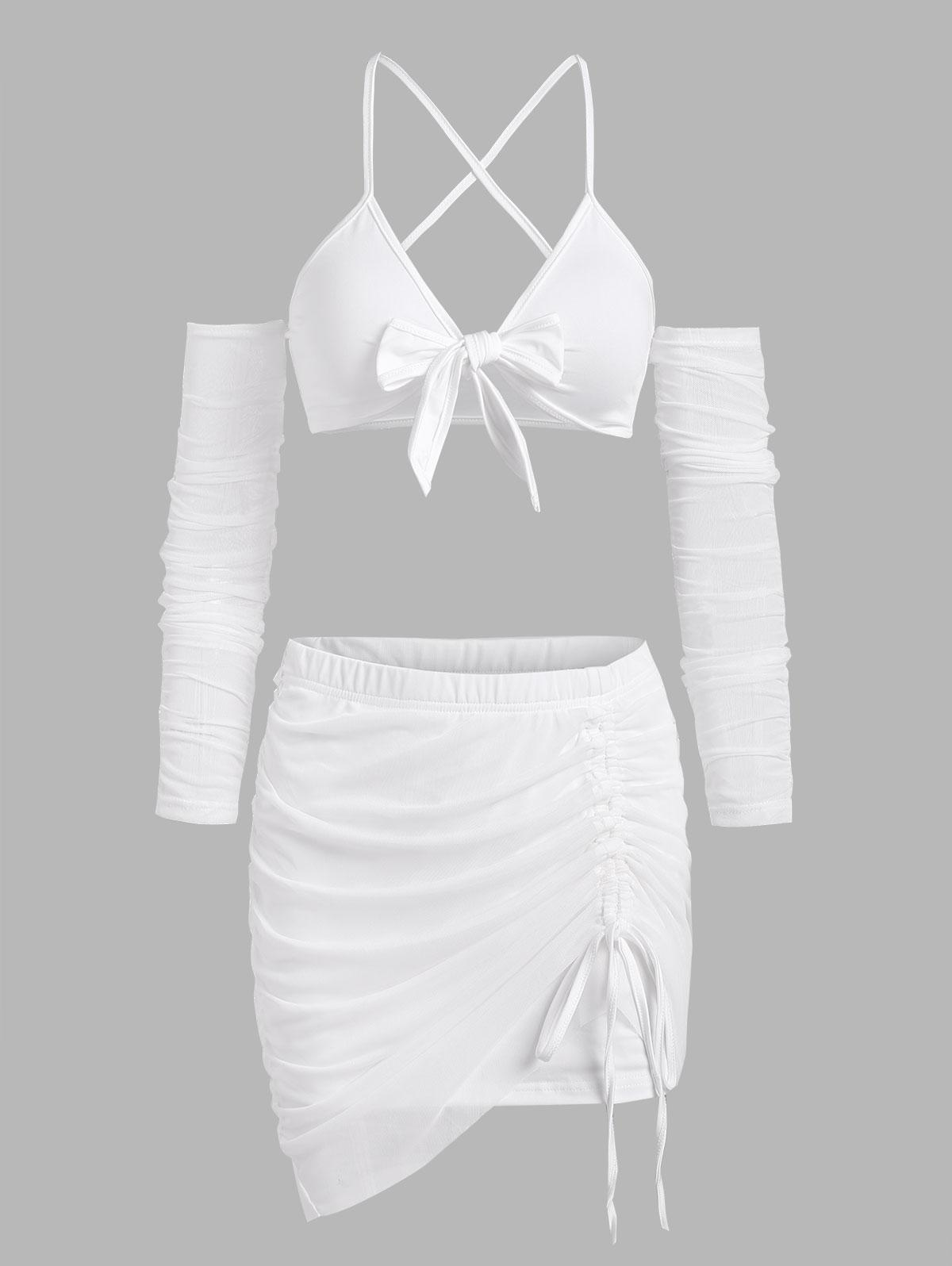 Tie Front Mesh String Cutout Cinched Skirt Set