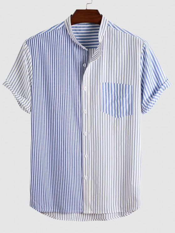 trendy High Low Stripe Half And Half Print Shirt - BLUE M