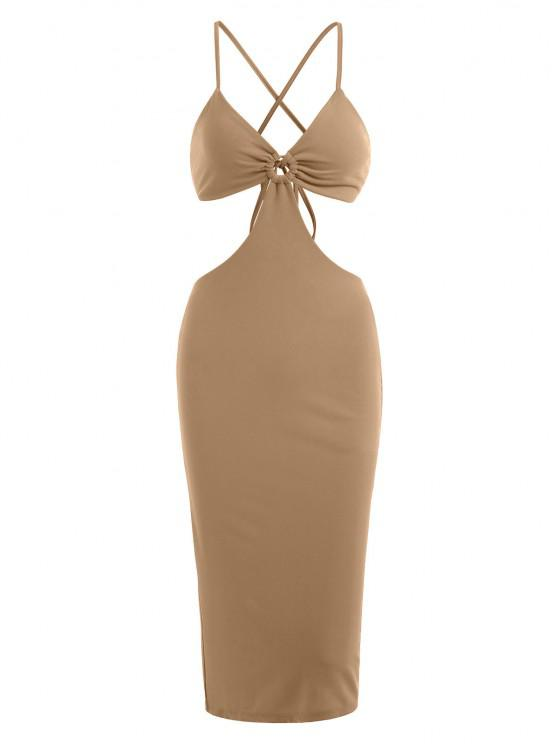 lady Criss Cross Cut Out O-ring Slit Slinky Dress - LIGHT COFFEE L