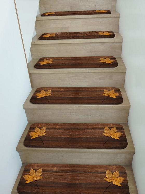 5Pcs Maple Leaf Wood Print Fleece Floor Stair Mat Set - Multi 5 Stücke x 28 x 9 Zoll