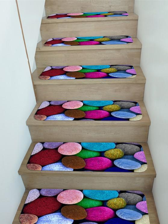 5Pcs Colored Pebble Print Fleece Stair Mat Set - متعدد 5 قطع × 28 × 9 بوصة