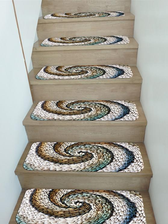 5Pcs Pebbles Vortex Print Fleece Stair Mat Set - Multi 5 Stücke x 28 x 9 Zoll