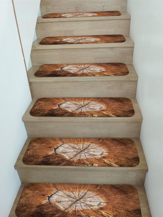 5Pcs Wood Grain Print Fleece Stair Mat Set - متعدد 5 قطع × 28 × 9 بوصة