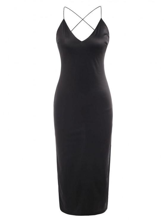 online Silky Side Slit Cowl Open Back Slinky Slip Dress - BLACK L