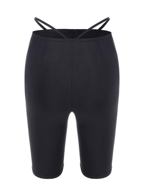 women's High Rise String Cutout Biker Shorts - BLACK S