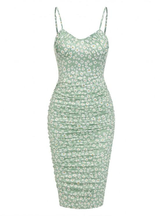 fashion ZAFUL Ditsy Floral Ruched Bodycon Cami Dress - LIGHT GREEN S