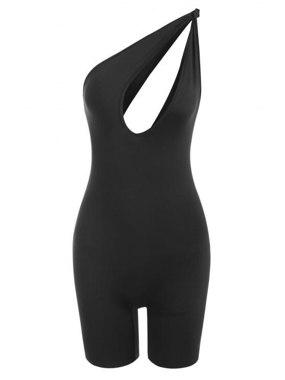 shop One Shoulder Knot Cutout Unitard Romper - BLACK M