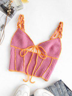 Contrast Trims Tie Crochet Tank Top - Light Pink S