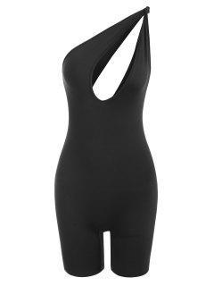 One Shoulder Knot Cutout Unitard Romper - Black L