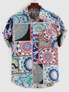 ZAFUL Bohemian Leopard Patchwork Print Pocket Shirt - Blue S
