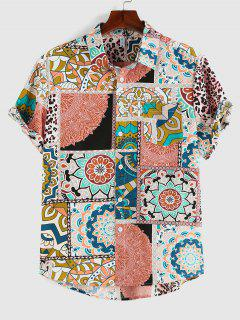 ZAFUL Bohemian Leopard Patchwork Print Pocket Shirt - Green L
