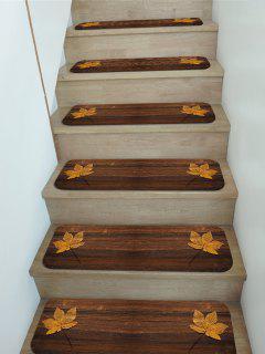 5Pcs Maple Leaf Wood Print Fleece Floor Stair Mat Set - Multi 5pcs X 28 X 9 Inch