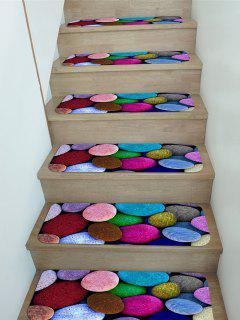 5Pcs Colored Pebble Print Fleece Stair Mat Set - Multi 5pcs X 28 X 9 Inch