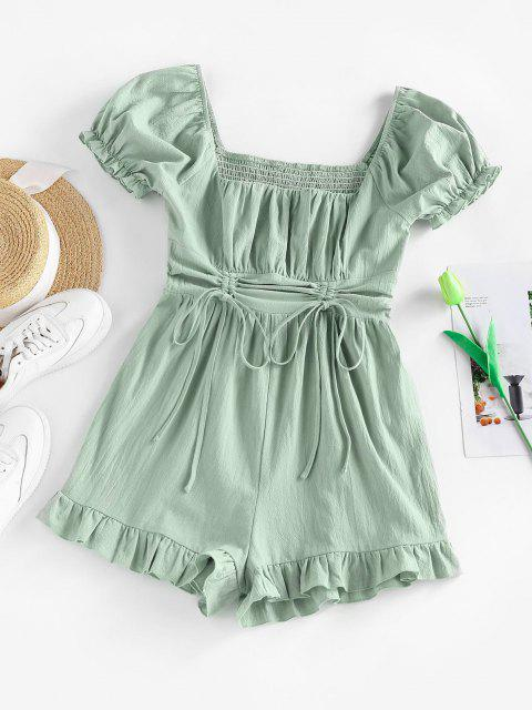 outfits ZAFUL Cinched Ruffle Puff Sleeve Smocked Romper - LIGHT GREEN M Mobile