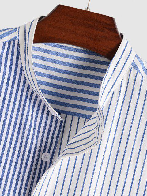 Hohes Niedriges Gestreiftes und Halbes Druck Hemd - Blau XL Mobile