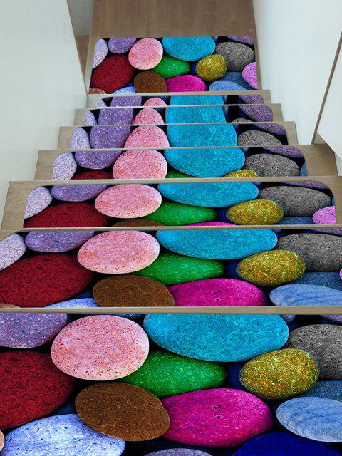 5Pcs Colored Pebble Print Fleece Stair Mat Set - Multi 5 Stücke x 28 x 9 Zoll Mobile