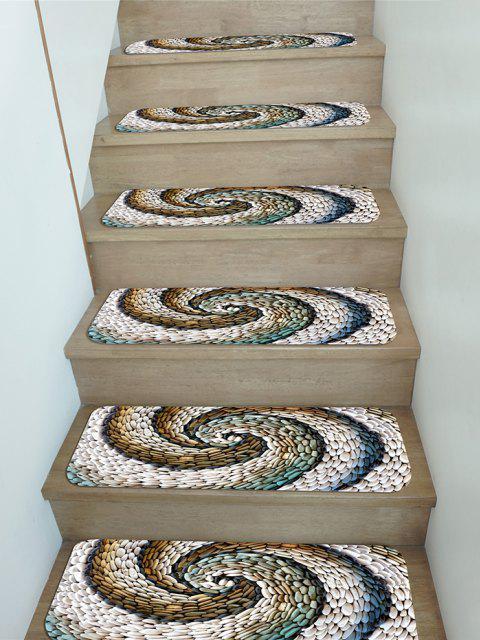 5Pcs Pebbles Vortex Print Fleece Stair Mat Set - Multi 5 Stücke x 28 x 9 Zoll Mobile