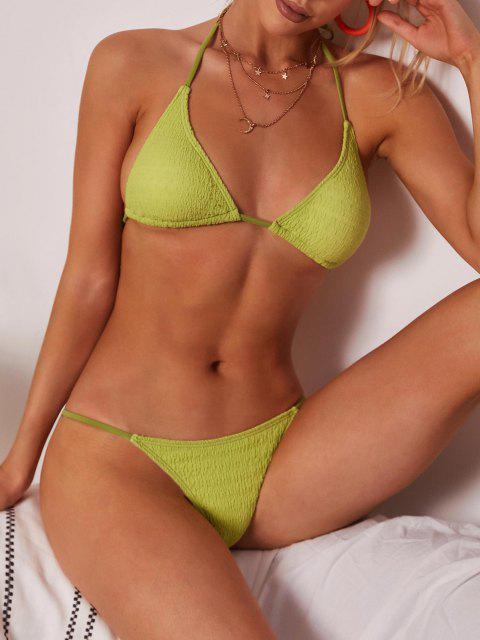 outfit ZAFUL Convertible Wrinkle Textured Upside Down Bikini Swimwear - LIGHT GREEN L Mobile