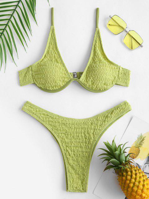 shops ZAFUL Wrinkle Textured Monowire High Cut Bikini Swimwear - LIGHT GREEN L Mobile